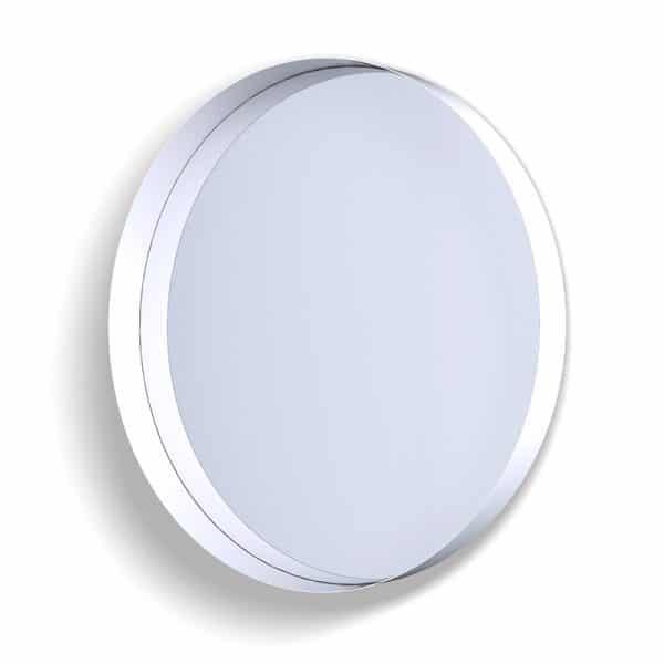 Deep Frame Circular Mirror - White -80mm